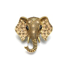 Gariton African elephant Metal Pin Vintage Elephant Rhinestone Brooch Women Fashion Jewelry PartyGift