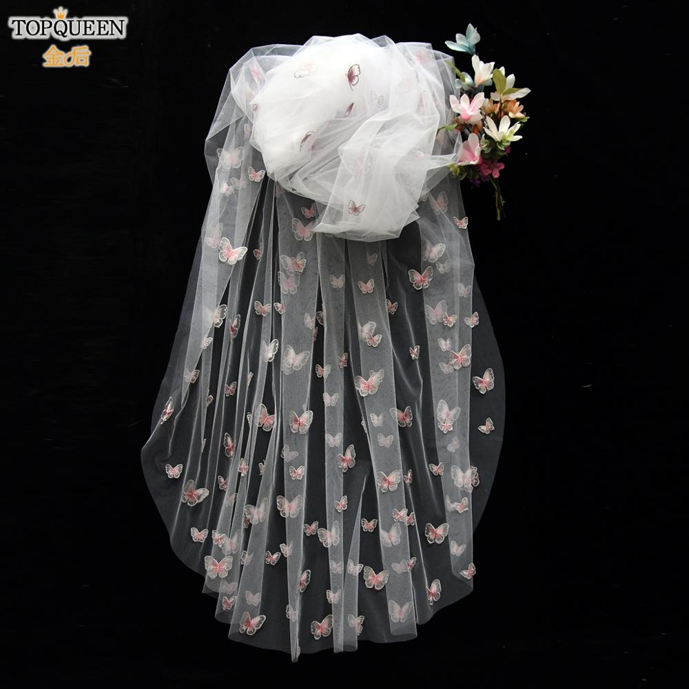 TOPQUEEN V24 Elegant butterfly Embroidery Veil 0.9M 3M Cathedral Bridal Veil Tulle Sheer Veil with Comb Wedding Fingertip Veil