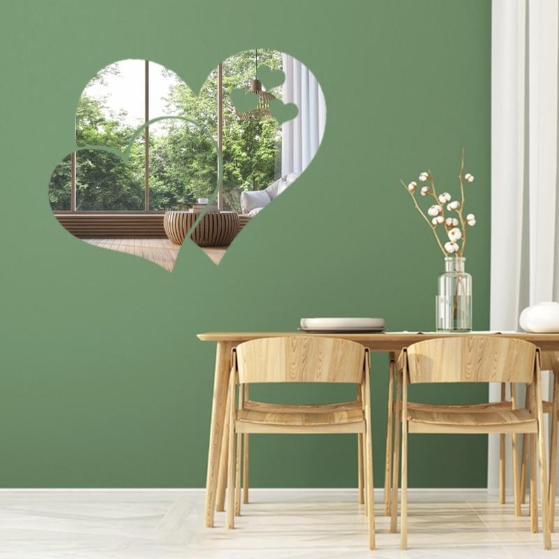 3D акриловые зеркальные наклейки на стену в форме сердца для кухни, ванной комнаты, зеркальные наклейки на стену, наклейки на стену, домашний декор для рукоделия|Декоративные зеркала|Дом и сад - AliExpress