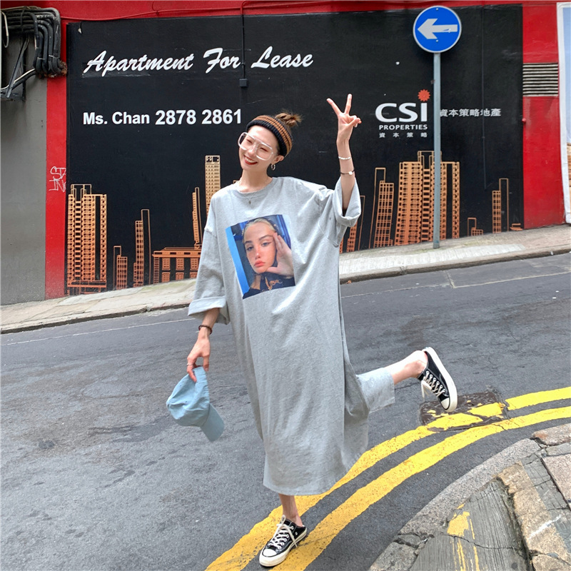 Summer Short-sleeved Nightgown Women's Gray Headscarf GIRL'S Skirt M-XXL 3 PCs Color