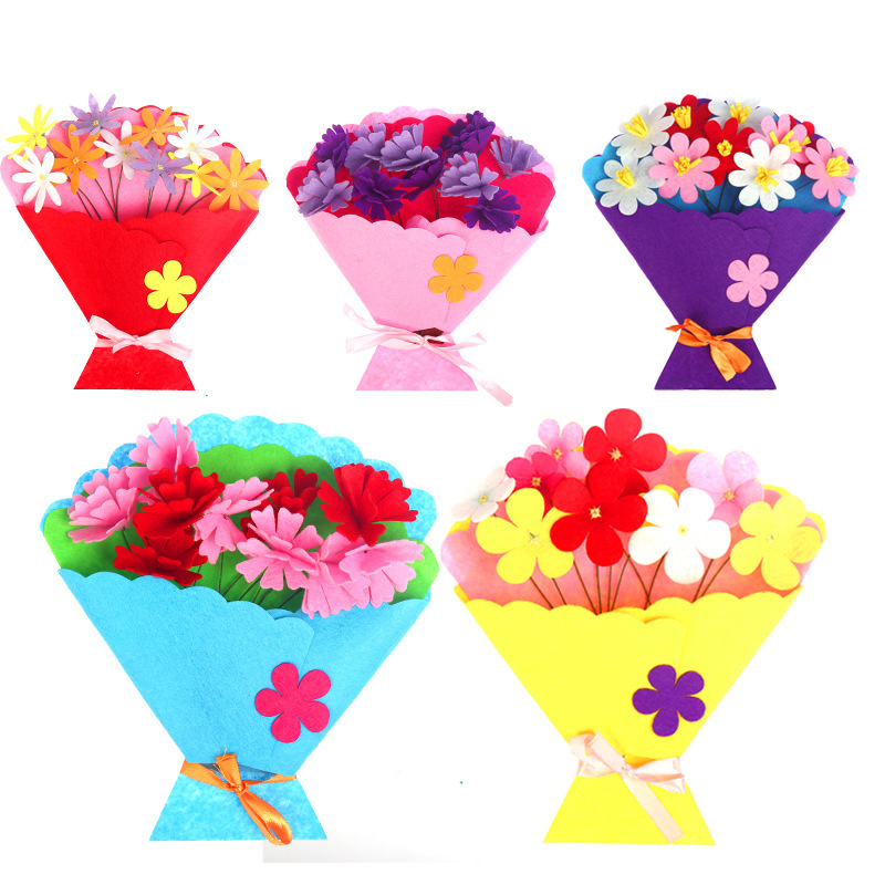 DIY Bouquet Toys For Children Crafts Kids Flower Pot Potted Plant Kindergarten Learning Education Toys Montessori Teaching