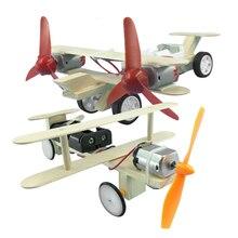 Самолёт с электроприводом «сделай сам», строительные блоки, набор, технологии, физические научные эксперименты, обучающие игрушки для детей