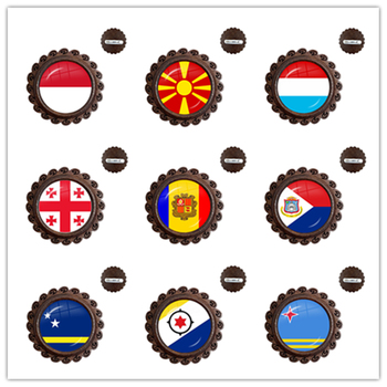 MCO,Macedonian,Luxembourg,Georgia,Andorra,Eilandgebied Sint Maarten,Curacao,Bonaire,Aruba Nation Flag Glass Wood Brooches Pins image