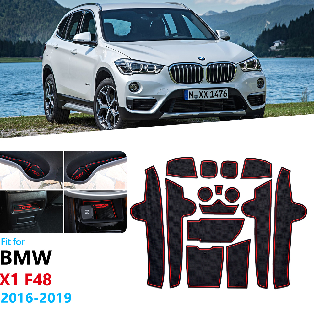 Anti-Slip Rubber Gate Slot Cup Mat for <font><b>BMW</b></font> <font><b>X1</b></font> F48 2016 2017 2018 <font><b>2019</b></font> Cushion Door Groove Mat Coaster Accessories Car Stickers image