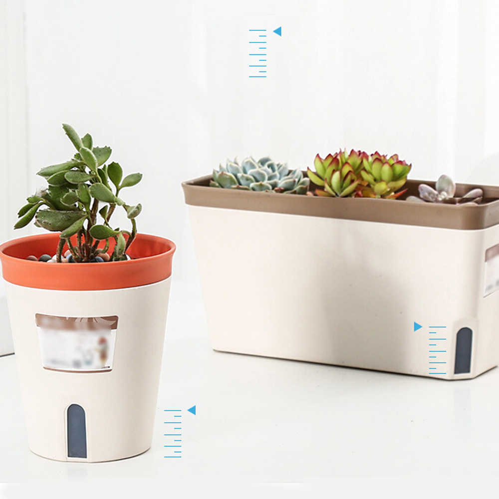 Creative Self Watering Flower Pot Automatic Water Absorbing Plant Pots Bonsai Container Garden Home Decor For Office Desktop Flower Pots Planters Aliexpress