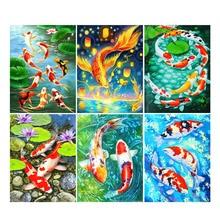 Scenery River 5D DIY Diamond Painting Animal Fish Cross Stitch Embroidery Mosaic Art Gift Living Room Decor