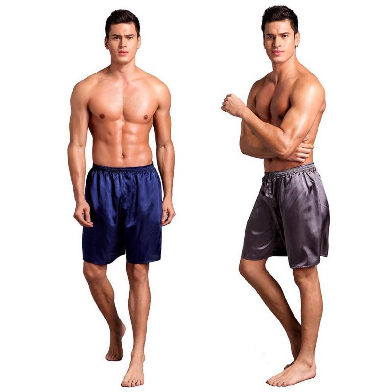 Men's Smooth Solid Sleep Bottom Shorts Pyjamas Male Casual Loose Underwear Satin Short Pants Loose Soft Sleep Bottoms L XL XXL