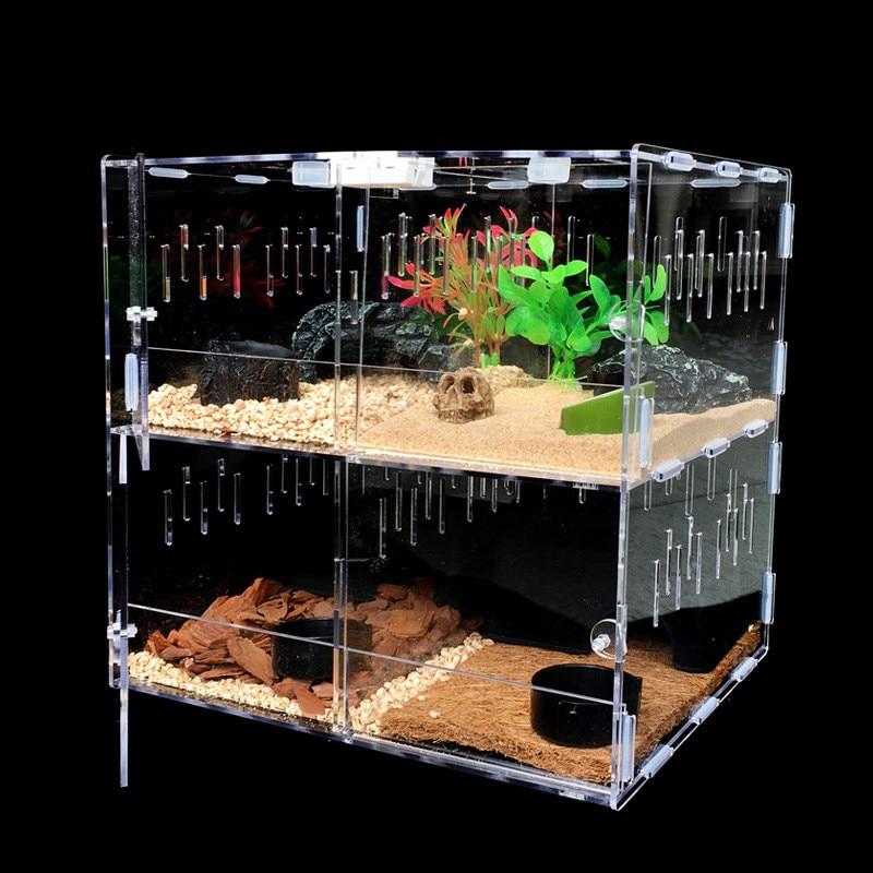 Clear Acrylic Pet Reptiles Tank Terrarium Insect Spiders Lizard Breeding Box House Cage Pet Reptiles Terrariums Supplies 2 Grids