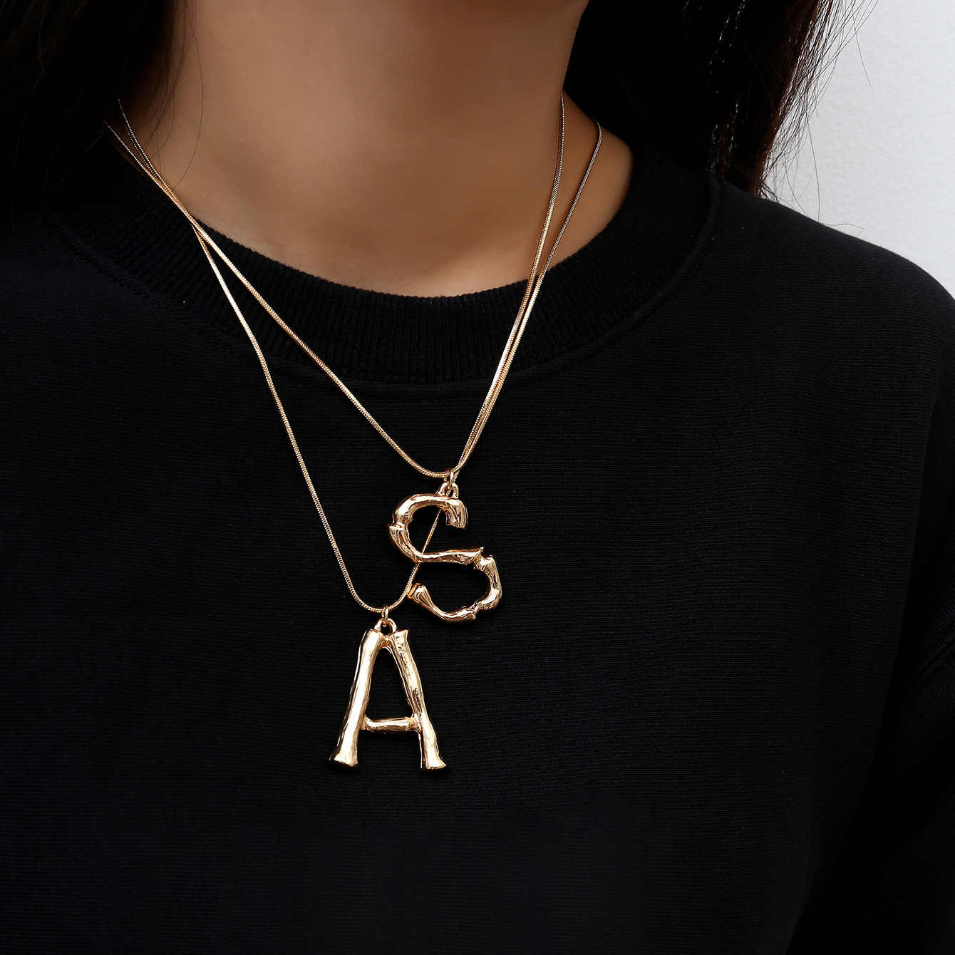 UOTOP 2019 New Alphabet Initial Letter Pendant Necklace Female Gold Silver Color Snake Chain Choker Collar Necklaces for Women
