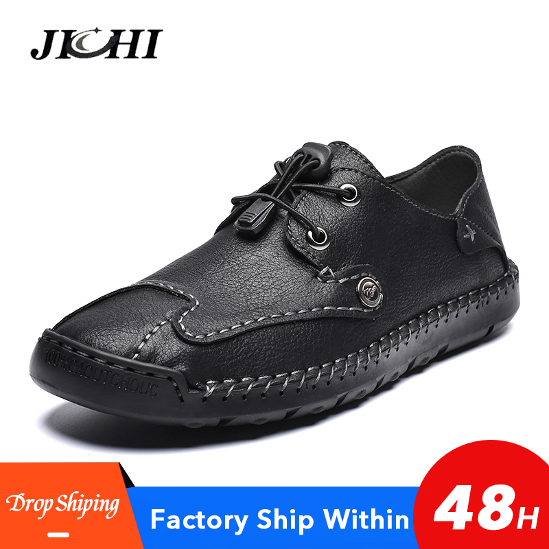 2020 Men Shoes Leather Casual Comfortable Flat Men Fashion Shoes Handmade  Men Shoes Casual Slip-on Shoes Big Size 48