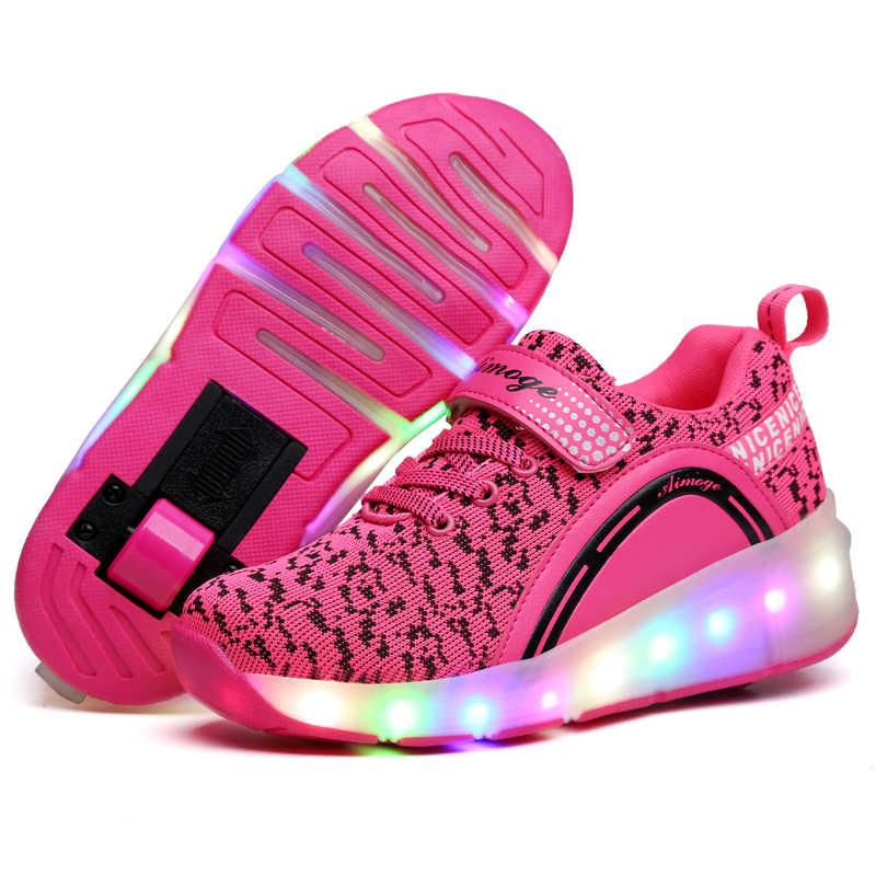 ילדים זוהר סניקרס סניקרס עם גלגלי Led אור עד רולר גלגיליות ספורט זוהר מואר נעליים לילדים בני ורוד שחור