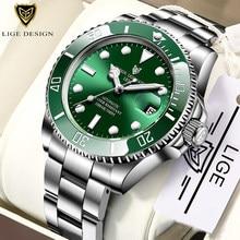 2021 LIGE Watch Men Automatic Mechanical Tourbillon Movement 316L Steel Clock Fashion Luminous 100 Waterproof Watches Mens Watch