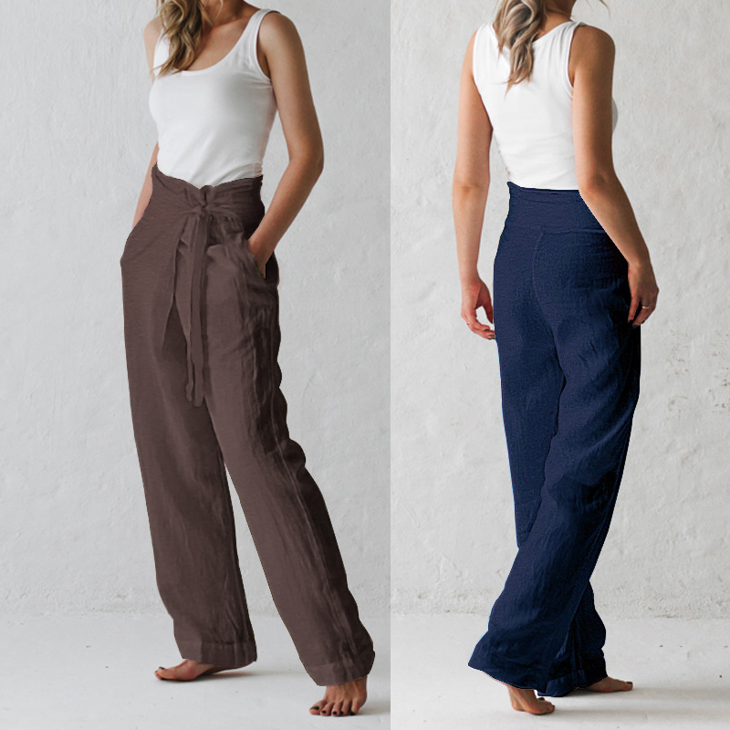 Summer Cotton Linen Women Pants 2020 New Lace Up Loose High Waist Straight Trousers Women Straight Solid Elegant OL Lady Clothes