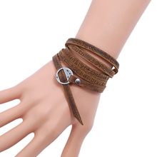 цены Bohemian style jewelery multilayer wrap genuine leather bracelet for men and women Embossing letter bracelet