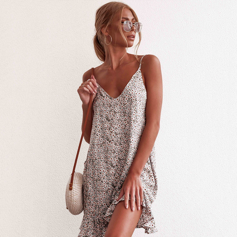 Summer Dress Women Sexy Floral Print Sling V Neck Backless Casual Dresses Lady Sleeveless Ruffle Boho Beach Mini Dress Plus Size