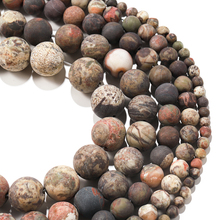 1strand Natural Stone Dull Polish Matte Flower Agates Onyx Round Beads Frosted Agates Chalcedony Loose Bead For Jewelry Making