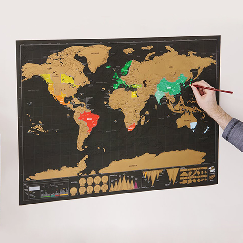 Deluxe Black Scratch Off Map World Map Erase World Travel Map Home Decoration Wall Stickers School Stationery 74.5 * 53.5cm