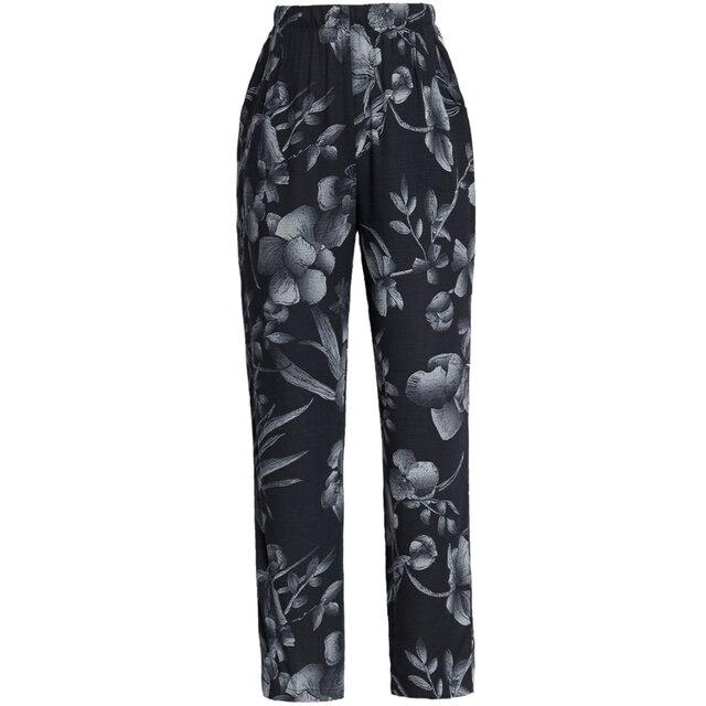 22 Colors 2020 Women Summer Casual Pencil Pants XL-5XL Plus Size High Waist Pants Printed Elastic Waist Middle Aged Women Pants 5