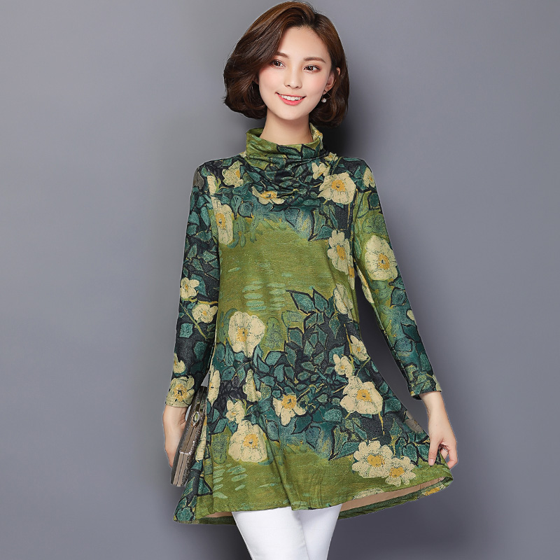 Autumn Plus Size Long Tunic Blouse Women 2019 Spring Floral Print Women Shirts Long Sleeve Chemise Femme Casual Women Tops 603H2