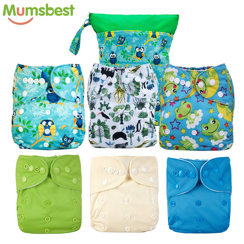 [Mumsbest] Baby Cloth Pocket Nappy Reusable Washable Green Waterproof Pockets Nappy Popular Wet Bag Nappy Bags 30X40CM 2 Pocket