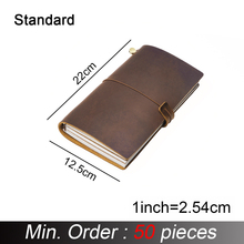 50 peças/lote padrão regular 220x125mm caderno de couro genuíno feito à mão do vintage do couro diário diário sketchbook planejador