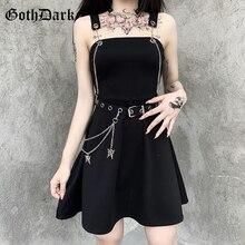 Goth Dark Punk Style Black With Chain Sashes Gothic Dresses Streetwear High Waist Skinny Pleated Sleeveless Women Mini Dress