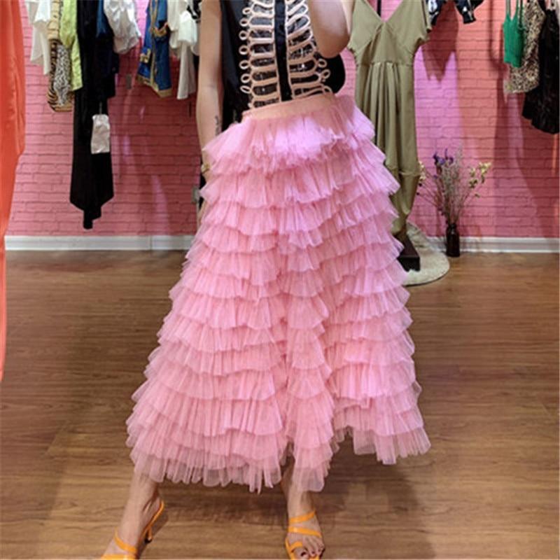 High Waist Multilayer ruffles Mesh Tutu Skirt 2