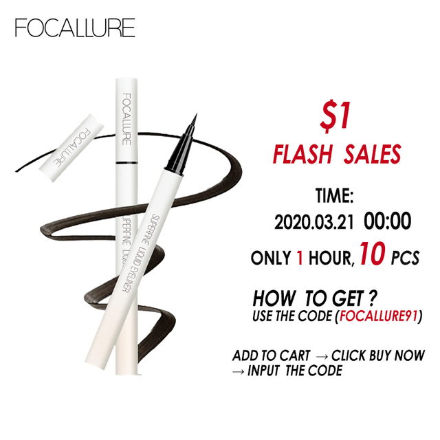FOCALLURE Black Liquid Eyeliner Pencil Waterproof  24 hours Long Lasting Eye Makeup smooth Superfine Eye Liner Pen 1