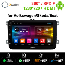 1280*720 IPSเครือข่ายOwnice OCTA 8 Core Android 10.0 2 DINรถDVD GPS NaviวิทยุสำหรับVW Volkswagen Skoda Octavia 2 ที่นั่ง