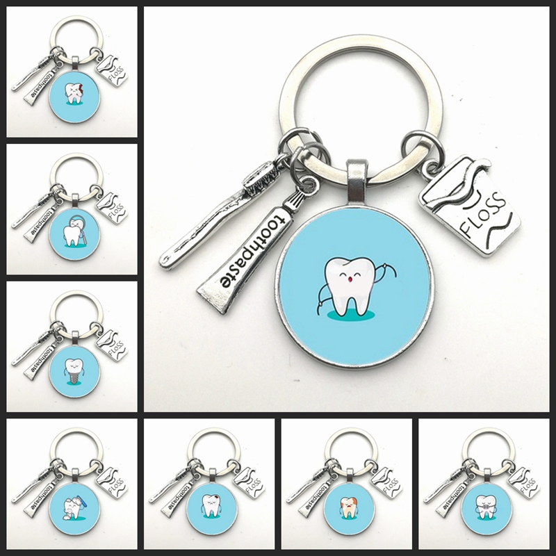 New I Love Tooth Pendant Keychain Mini Toothbrush Toothpaste Keychain Fashion Jewelry Men And Women Gifts