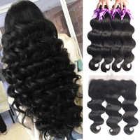 Brazilian Human Hair Weave Body Wave Bundles With Frontal Human Hair 3 Bundles With Closure13x4 Frontals Straight Hair Extension
