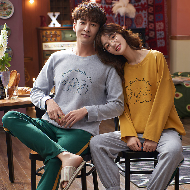 Pajamas Women's Spring And Autumn 6535 Cotton Long Sleeve Trousers Korean-style Japanese Korean Men And Women Couples Thin Home