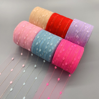 25yards/roll 60mm Dots Gold Rope Stain Organza Ribbons DIY Crafts Gift Wrapping Decoration Christmas Silk Lace Fabric
