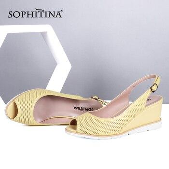 SOPHITINA Roman Sandals Fashion Commute Wedges Platform Design Sexy Peep toe Sandals Breathable Summer Office Shoes Women SC683 stylish women s sandals with strange style and peep toe design