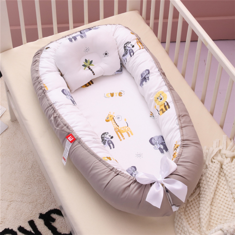 Newborn Baby Nest Bed Portable Babynest Crib Travel Bed Baby Nestje Baby Bassinet Bumper with Pillow Cushion Crib