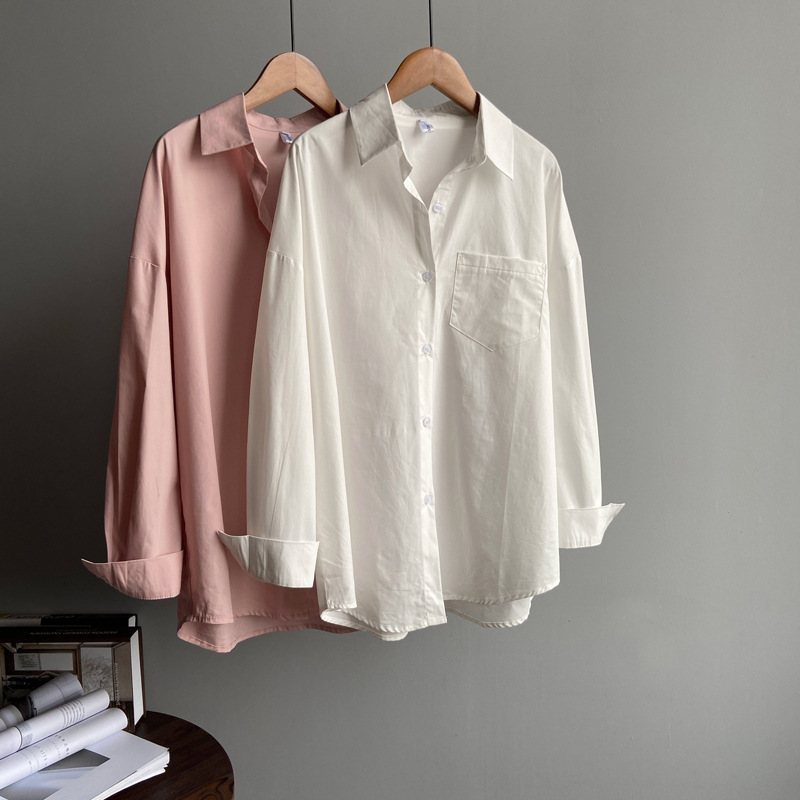 2020 Boyfriend Style Women White Blouses With Pocket Oversized Womens Tops And Blouses Cotton Pink Shirt Blusas Roupa Feminina