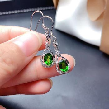 attractive green diopside pendant for women dangling earrings with hook natural gem real 925 silver certified girl birthday gift