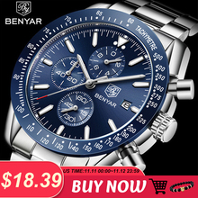 2018 New Men Watch BENYAR Business Full Steel Quartz Top Brand Luxury Casual Wat