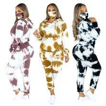 3 peça feminina de mármore tie dye sweatsuit e hoodies agasalho sweatpants pullover joggers conjunto casual