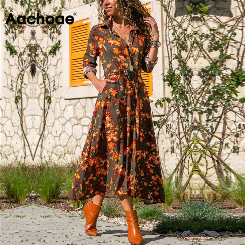 Aachoae Summer Long Dress Women Floral Print Boho Dress Long Sleeve Turn Down Collar Shirt Dress Ladies Casual Dresses Vestidos