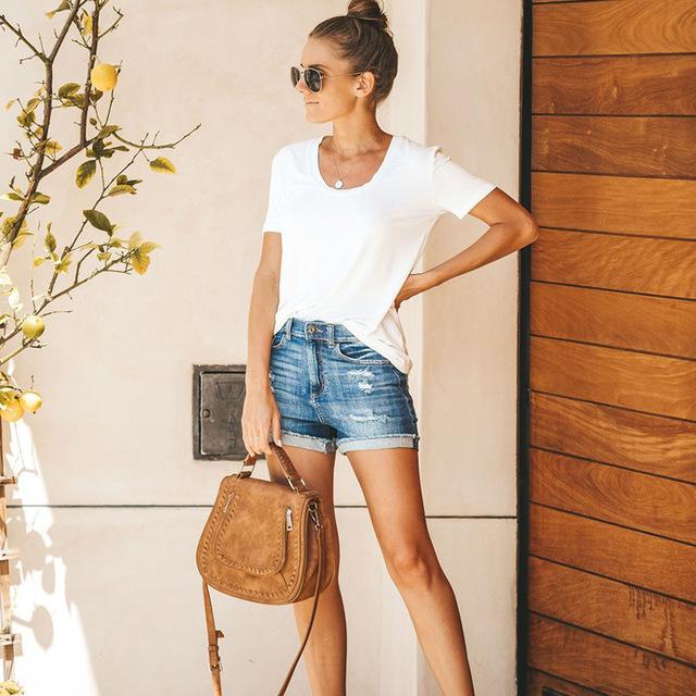 Women fashion Tassel High Waist Denim Shorts Vintage Ripped