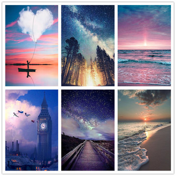 5D diamond embroidered cross stitch DIY painting landscape picture decoration home round full drill