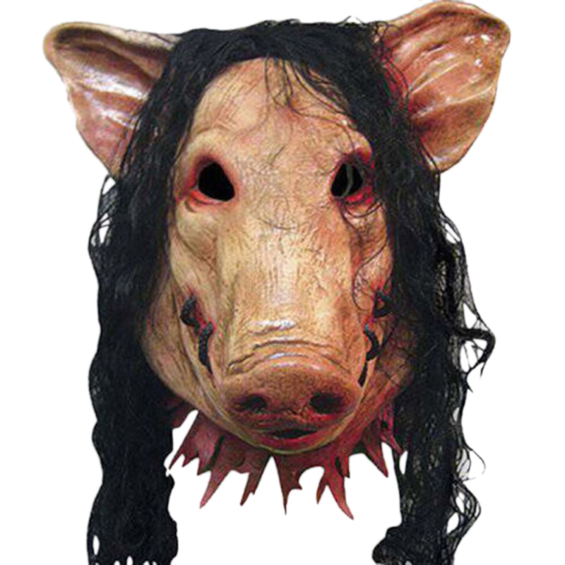 Halloween Scary Masks Novelty Pig Head Horror With Hair Masks Caveira Cosplay Costume Realistic Latex Festival Supplies Mask