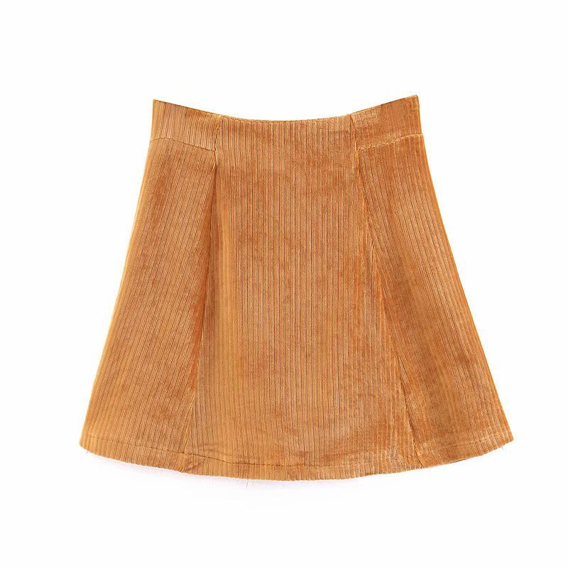 Spring And Autumn WOMEN'S Dress Wholesale New Products Models In Europe And America Simple Corduroy Slimming A- Line Skirt