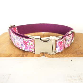 Really Pretty dog collars and leashes set 5 sizes Handmade soft pet accessory THE PURPLE FLOWER UDC049 image