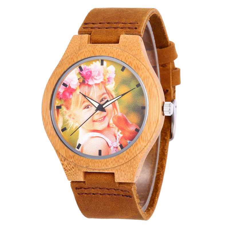 2019 New To Figure The One-to-one By Bamboo Watch Dial Custom Engraving Photo Table Bottom Cover Cross-border Site Hot Style