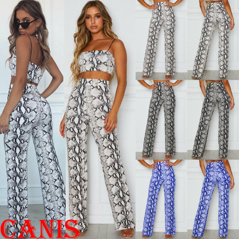 Womens Snake Printed Trousers Elastic Palazzo Gypsy Trousers Retro Trousers Loose Boho Beach Harem Wide Leg Pants Elegant