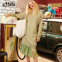 ELFSACK, разноцветное, одноцветное, с оборками, из кусков, вязаное платье для женщин, зима 2020, чисто минималистичное, с длинным рукавом, прямое, д...