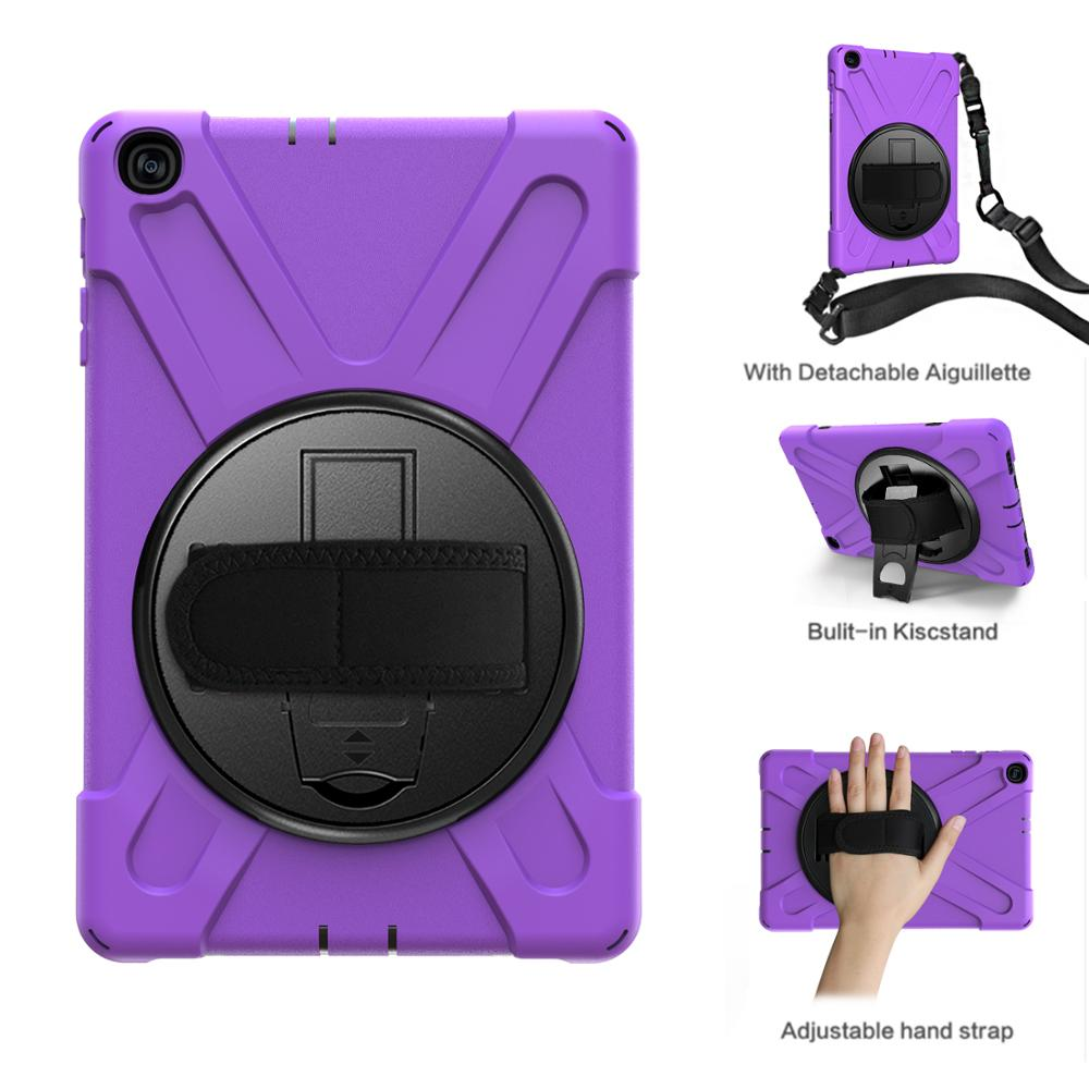 For Samsung Galaxy Tab A10.1 2019 SMT510 SMT515 Heavy Hybrid Stand Case Shockproof Shoulder Strap <font><b>360</b></font> Rotating Tablet Back Case image