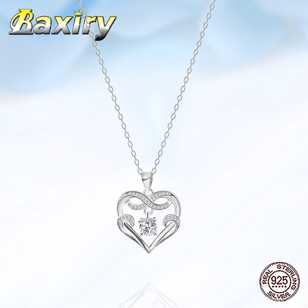 Luxury New 925 Sterling Silver Heart Necklace Chain Necklace For Women 2020 Neck Chains Pendant Women's Accessories Jewelry DIY